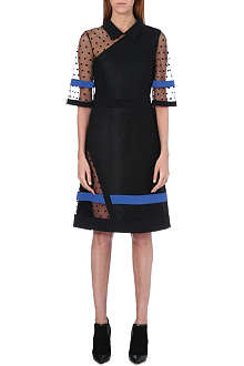 UNGARO Asymmetric polka dot panel dress