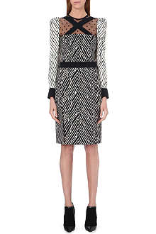 UNGARO Herringbone panel crepe dress