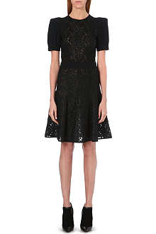 UNGARO Floral lace sheer dress