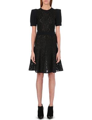 UNGARO Floral lace sheer dress
