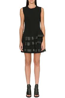UNGARO Leather-trimmed frilled dress
