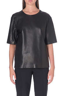 UNGARO Mesh-back leather top