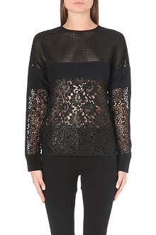 UNGARO Floral lace and mesh top