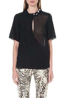 UNGARO Embellished sheer panel top