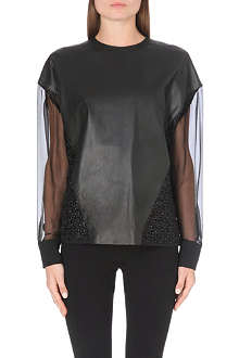 UNGARO Leather and floral lace blouse