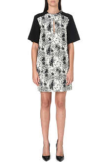 UNGARO Snake print contrast dress