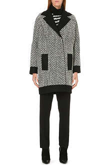UNGARO Chevron-knit wool-blend coat
