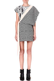 UNGARO Chevron crepe dress