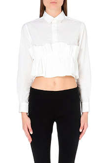 TOGA Ruffle-detail cropped cotton shirt