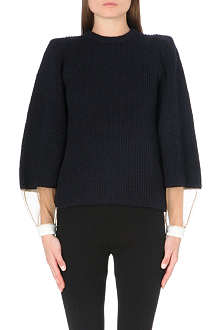 TOGA Sheer-cuff wool-blend jumper