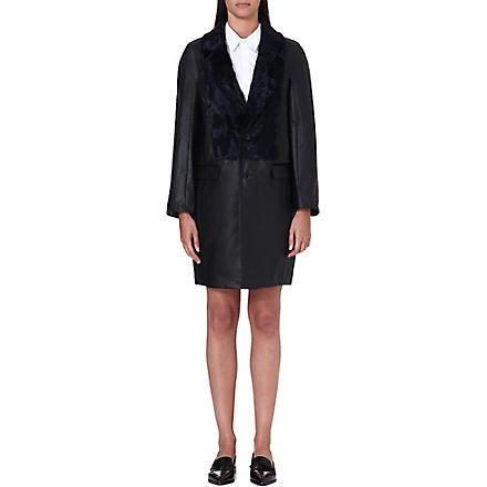TOGA Faux fur-panel coated-cotton coat (Black