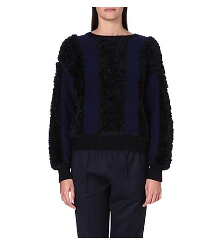 TOGA Faux fur striped jumper (Black/navy