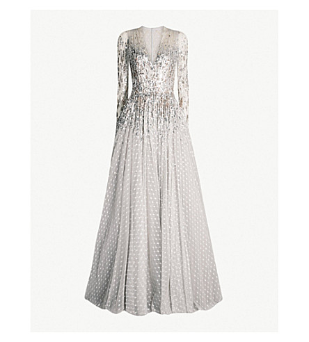 JENNY PACKHAM Blanche embellished point d'esprit tulle gown (Platinum silver
