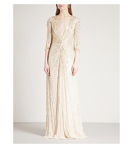 JENNY PACKHAM Bead-embellished silk-chiffon gown (Sand