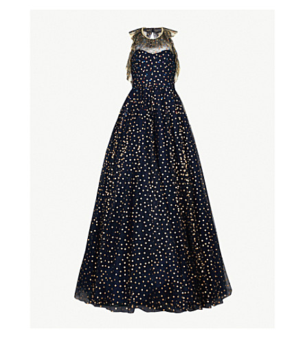 JENNY PACKHAM Dot-print tulle gown (Midnight/+gold