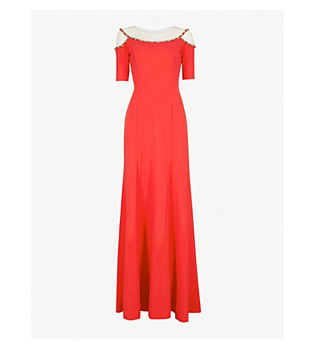 JENNY PACKHAM Bead-embellished crepe gown (Robin+red