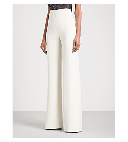 JENNY PACKHAM Flared high-rise crepe trousers (Sand