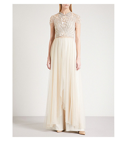 JENNY PACKHAM Open-front embellished and tulle gown (Sand
