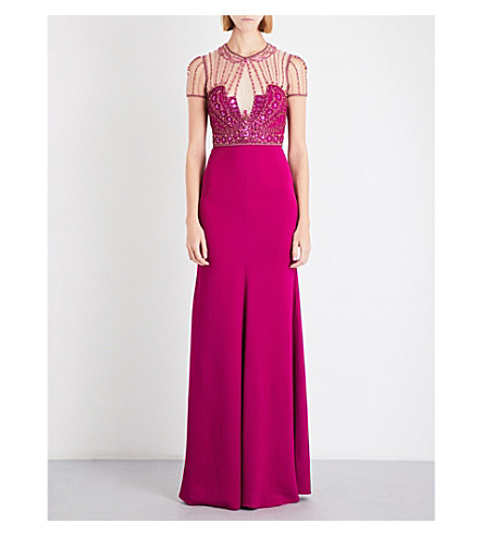 JENNY PACKHAM Crystal-embellished crepe gown (Illusion/bright+plum