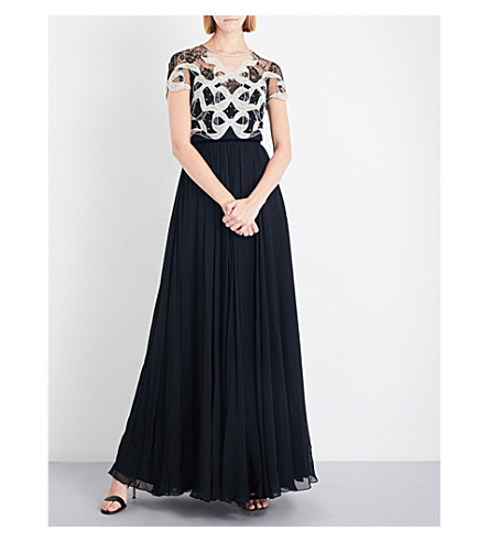 JENNY PACKHAM Crystal-embellished tulle and silk-chiffon gown (Black