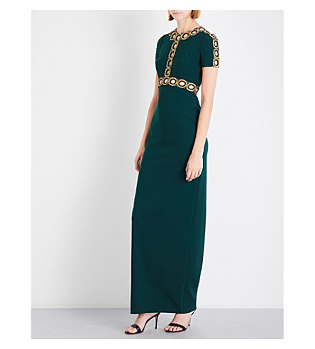 JENNY PACKHAM Cutout crystal-embellished crepe gown (Dark+forest