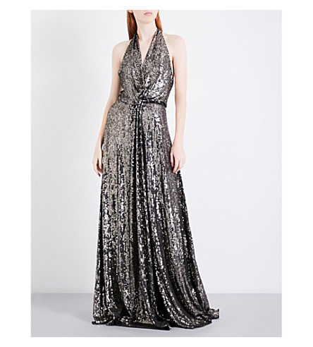 JENNY PACKHAM Sequin-embellished silk gown (Dark+grey