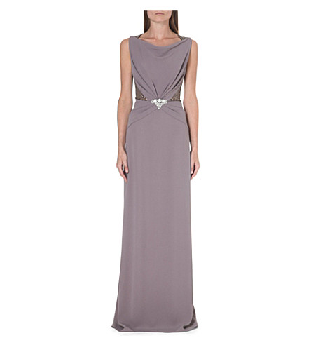 JENNY PACKHAM Sheer-back embellished crepe gown (Osprey