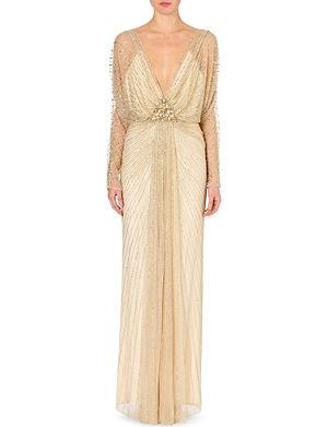 JENNY PACKHAM Embellished long-sleeved gown