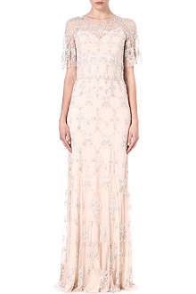 JENNY PACKHAM Sheer-sleeve embellished gown