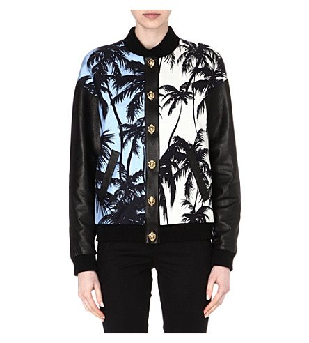 FAUSTO PUGLISI Palm Tree bomber jacket (Blue