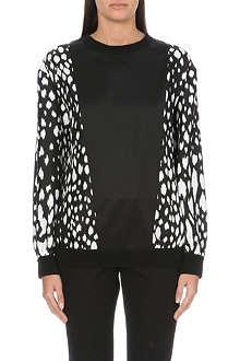 FAUSTO PUGLISI Leopard print-sleeves silk-satin sweatshirt