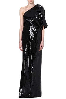 SAINT LAURENT Asymmetric maxi dress with sequins