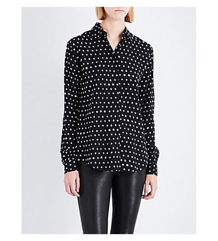SAINT LAURENT Lipstick polka dot-print silk-crepe shirt (Black/white
