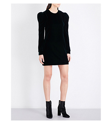 SAINT LAURENT Puff-sleeve velvet mini dress (Emerld