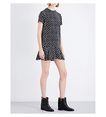 SAINT LAURENT Lipstick polka dot-print silk-crepe mini dress (Black/white