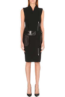 JEAN PAUL GAULTIER Leather-detailed pencil dress