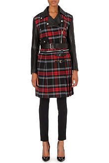 JEAN PAUL GAULTIER Tartan leather biker coat