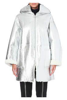 JEAN PAUL GAULTIER Hooded metallic shearling coat