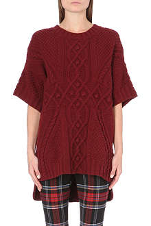 JEAN PAUL GAULTIER Cable-knit notched-hem jumper