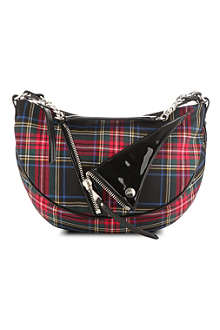 JEAN PAUL GAULTIER PM small leather and tartan-patterned hobo