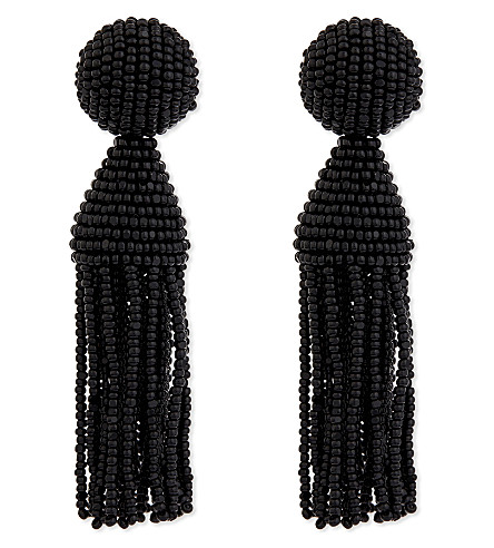 OSCAR DE LA RENTA Classic beaded tassel clip-on earrings (Black