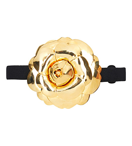 OSCAR DE LA RENTA Gardenia wool-blend buckle belt (Black/gold