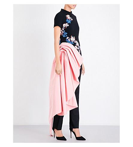 OSCAR DE LA RENTA Floral-embellished high neck wool-blend top (Black/rose