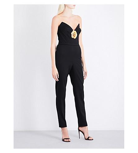 OSCAR DE LA RENTA Plunge-neck strapless stretch-wool jumpsuit (Black