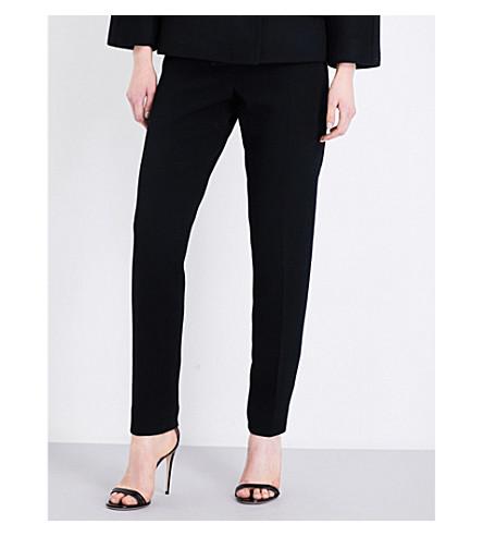OSCAR DE LA RENTA Skinny high-rise wool-blend trousers (Black