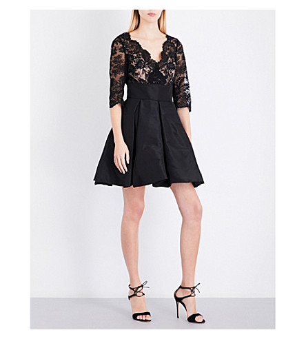 OSCAR DE LA RENTA Sheer floral-lace silk dress (Black