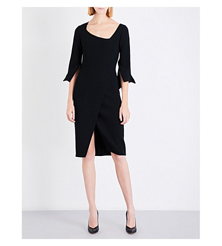 OSCAR DE LA RENTA Asymmetric boat-neck crepe dress (Black