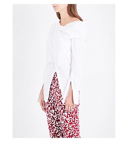 OSCAR DE LA RENTA Asymmetric stretch-cotton poplin shirt (White