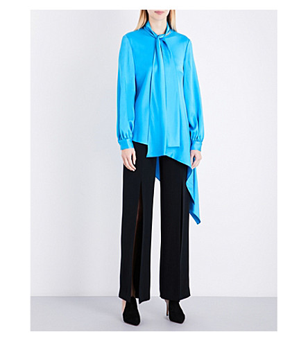 OSCAR DE LA RENTA Asymmetric-hem satin blouse (Lagoon
