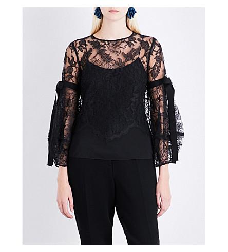 OSCAR DE LA RENTA Puff-sleeve lace top (Black